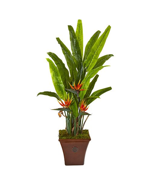 """Nearly Natural 59"""" Bird Of Paradise Artificial Plant in Brown Planter"""