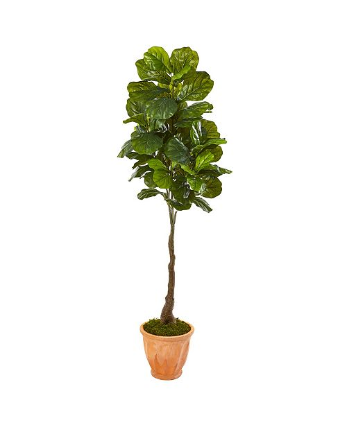 """Nearly Natural 67"""" Fiddle Leaf Artificial Tree in Terra-Cotta Planter Real Touch"""