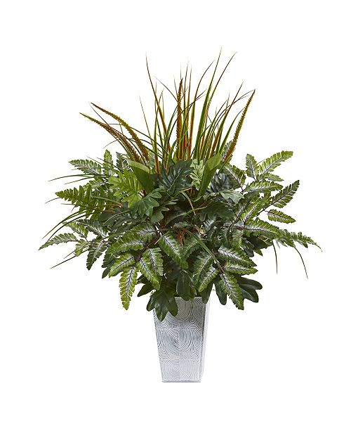 """Nearly Natural 25"""" Mix Greens Artificial Plant in Planter"""