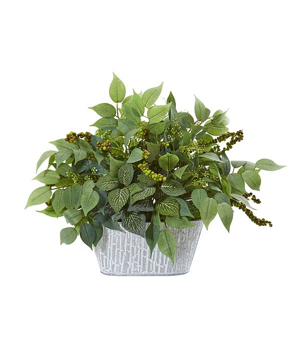 "Nearly Natural 13"" Mixed Ficus and Fittonia Artificial Plant in Decorative Planter"