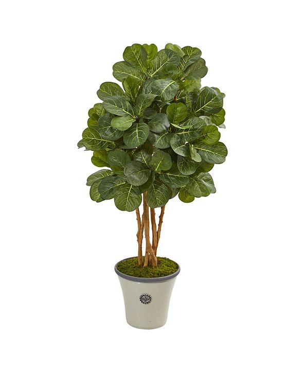 """Nearly Natural 57"""" Fiddle Leaf Fig Artificial Tree in Decorative Planter"""