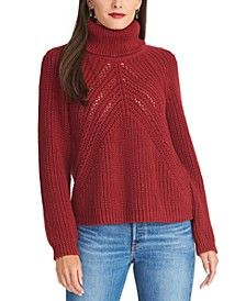 Edie Open-Knit Turtleneck Sweater