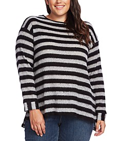 Plus Size Boat-Neck Fuzzy Striped Sweater