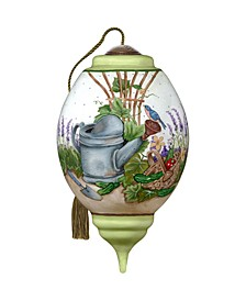 NeQwa Art A Watering Can Garden Scene Hand Painted Blown Glass Ornament