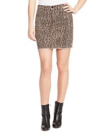 Wild Cheetah Jean Skirt