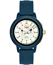 Tory Burch Women's Tory Navy Silicone Strap Touchscreen Smart Watch 42mm, Powered by Wear OS by Google™