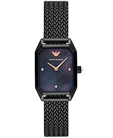 Women's Black Stainless Steel Mesh Bracelet Watch 24x35mm