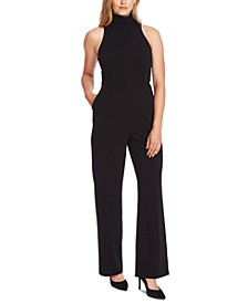 Mock-Neck Crepe Jumpsuit
