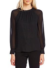 Embellished Sheer-Sleeve Top