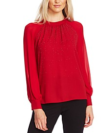 Embellished Sheer-Sleeve Top