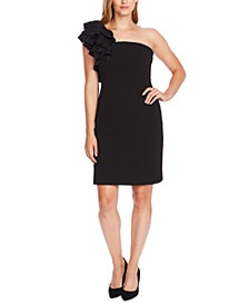 Ruffle-Shoulder Sheath Dress