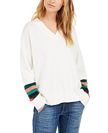 Striped-Sleeve Sweater