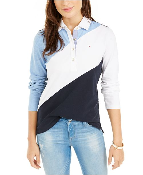 Tommy Hilfiger Long-Sleeve Colorblocked Rugby Polo, Created For Macy's