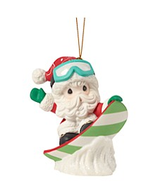 Precious Moments Have Some Holiday Fun Santa Claus On Snow Board Bisque Porcelain Christmas Ornament