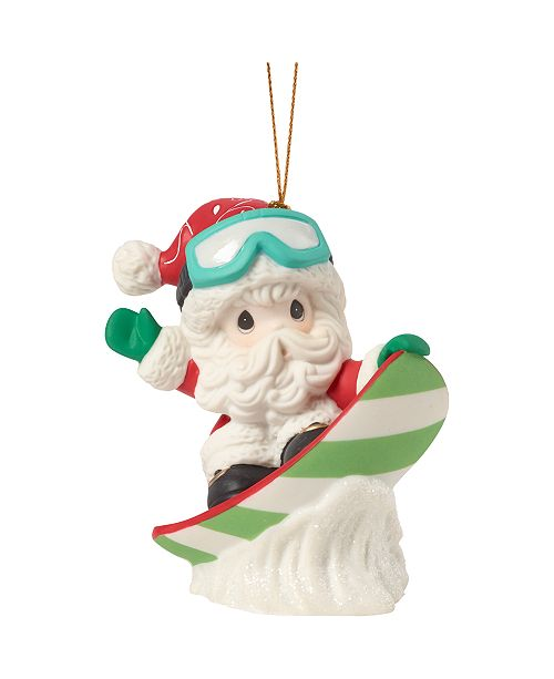 Ne'Qwa Precious Moments Have Some Holiday Fun Santa Claus On Snow Board Bisque Porcelain Christmas Ornament