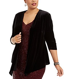 Plus Size Velvet Pointed-Hem Top