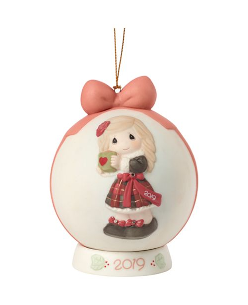 Ne'Qwa Precious Moments Have A Heart Warming Christmas Girl With Mug 2019 Dated Bisque Porcelain Ball Christmas Ornament
