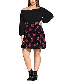 Trendy Plus Size Rosie Posie A-Line Skirt