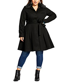 Trendy Plus Size Faux-Fur-Collar Coat
