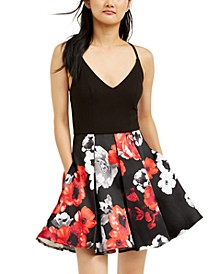 Juniors' Printed-Skirt Dress