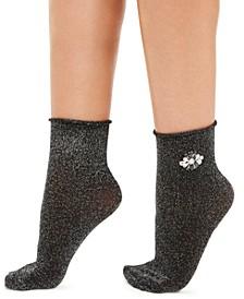 INC Women's Embellished Metallic Anklet Socks, Created For Macy's
