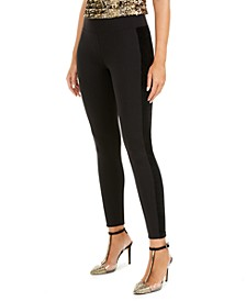 I.N.C. Faux-Velvet-Accent Leggings, Created For Macy's