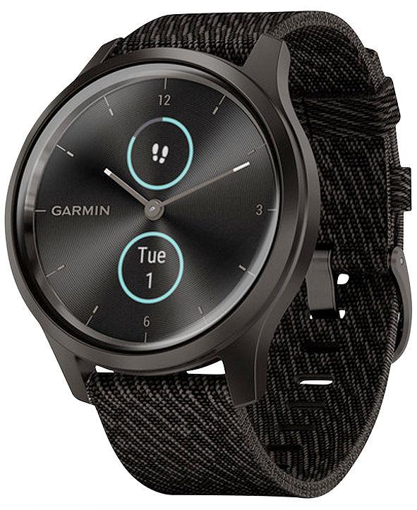 Garmin vívomove Style Black Pepper Nylon Strap Touchscreen Hybrid Smart Watch 42mm