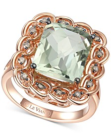 Mint Julep Quartz (5-1/2 ct. t.w.) & Chocolate Diamond (1/4 ct. t.w.) Statement Ring in 14k Rose Gold