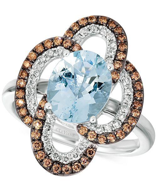 Le Vian Sea Blue Aquamarine® (2 ct. t.w.), Nude Diamonds (1/4 ct. t.w.) & Chocolate Diamonds® (3/8 ct. t.w.) Ring In 14k White Gold
