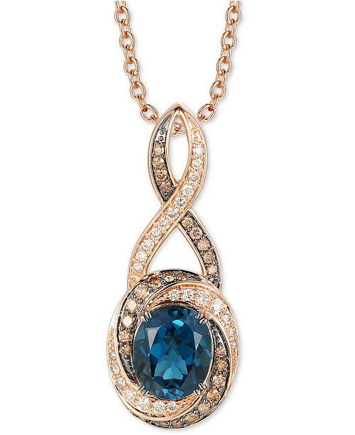 "Le Vian Deep Sea Blue Topaz (3-3/8 ct. t.w.) & Diamond (3/4 ct. t.w.) 20"" Pendant Necklace in 14k Rose Gold"