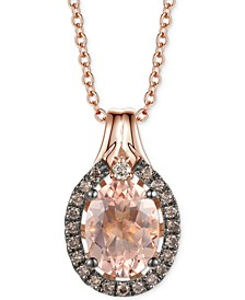 "Peach Morganite (1-1/3 ct. t.w.), Nude Diamonds Accent & Chocolate Diamonds® (1/6 ct. t.w.) 20"" Pendant Necklace in 14k Rose Gold"