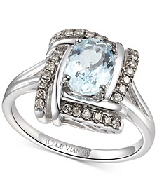 Sea Blue Aquamarine (7/8 ct. t.w.) & Chocolate Diamond (1/5 ct. t.w.) Ring in 14k White Gold