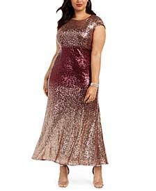 Plus Size Ombré Sequin Gown