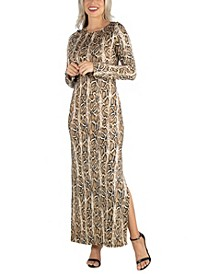 Women's Form Fitting Long Sleeve Side Slit Maxi Dress