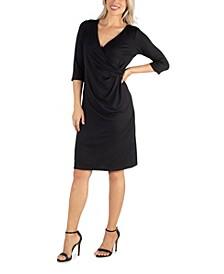 Women's Three Quarter Sleeve Knee Length Wrap Dress