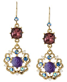Antique Gold-Tone Flower Medallion Crystal Drop Earrings