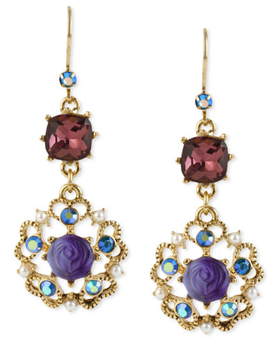 Betsey Johnson Antique Gold-Tone Flower Medallion Crystal Drop Earrings