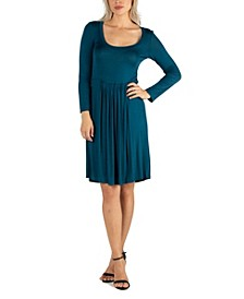 Women's Knee Length Pleated Long Sleeve Dress