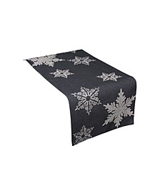 "Glisten Snowflake Embroidered Christmas Table Runner, 16"" x 36"""