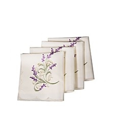"""Lavender Lace Embroidered Cutwork Napkins, 20"""" x 20"""", Set of 4"""