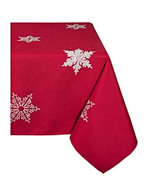 "Glisten Snowflake Embroidered Christmas Square Tablecloth, 60"" x 60"""
