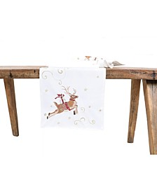 Reindeer with Gifts Embroidered Christmas Table Runner
