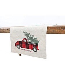Vintage Tartan Truck with Christmas Tree Table Runner