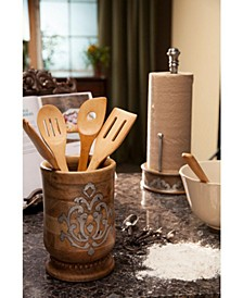 8.25-Inch Tall Wood and Metal Inlay Heritage Collection Utensil Holder