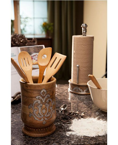The GG Collection 8.25-Inch Tall Wood and Metal Inlay Heritage Collection Utensil Holder
