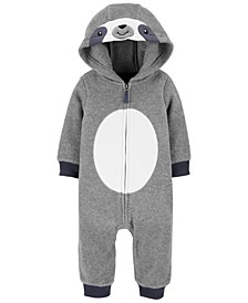 Baby Boys Hooded Sloth Fleece Coverall