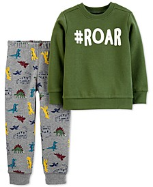 Toddler Boys 2-Pc. Roar Top & Dinosaur-Print Pants Set