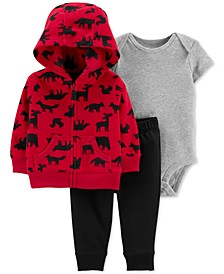 Baby Boys 3-Pc. Woodland-Print Hoodie, Bodysuit & Pants Set