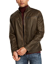 INC Men's ONYX Washed Faux Leather Jacket, Created for Macy's