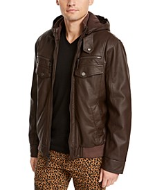 INC Men's Faux Leather Hooded Jacket, Created For Macy's